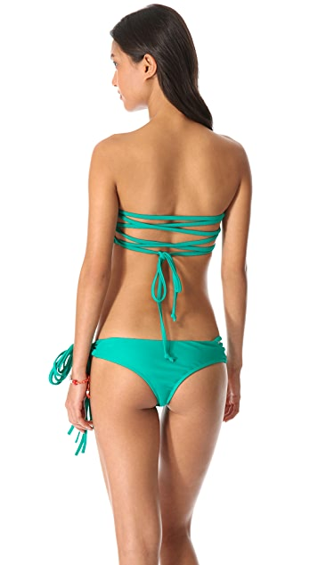 Thayer Lace Up Bandeau Bikini Top