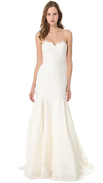 Theia Lace Mermaid Dress