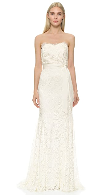 Theia Sweetheart Strapless Lace Gown