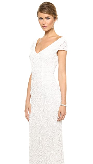 Theia Lilia Cap Sleeve Beaded Gown