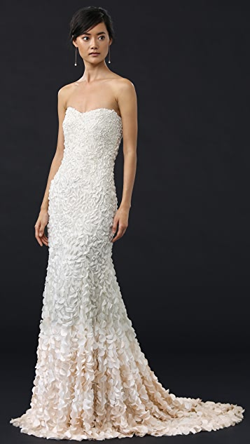 Theia Courtney Strapless Petal Gown