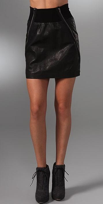 Theory Gretchen Leather Miniskirt