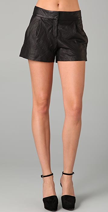 Theory Pepin Leather Shorts