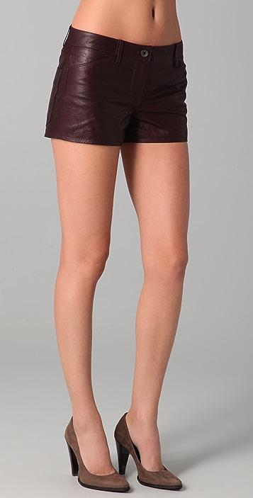 Theory Rilian Leather Shorts