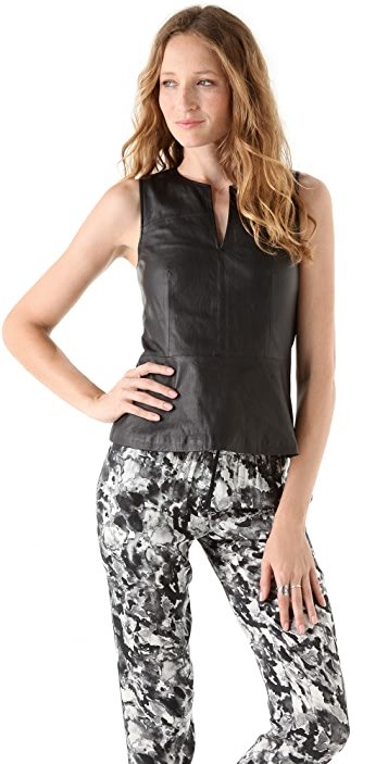 Theory Etia L Light Leather Top