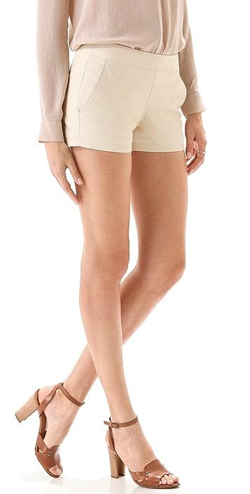 Theory Lura Light Leather Shorts