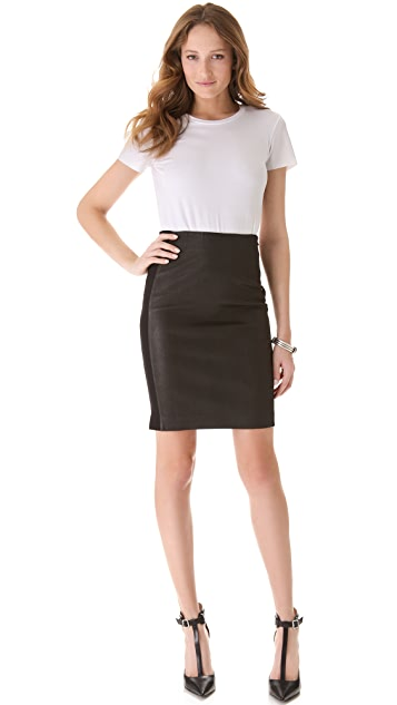 Theory Brookelle Leather Skirt