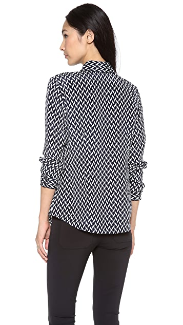 Theory Cully Chevron Silk Blouse