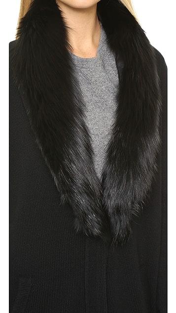Theory Loryelle Shurelia Cardigan with Fur Collar