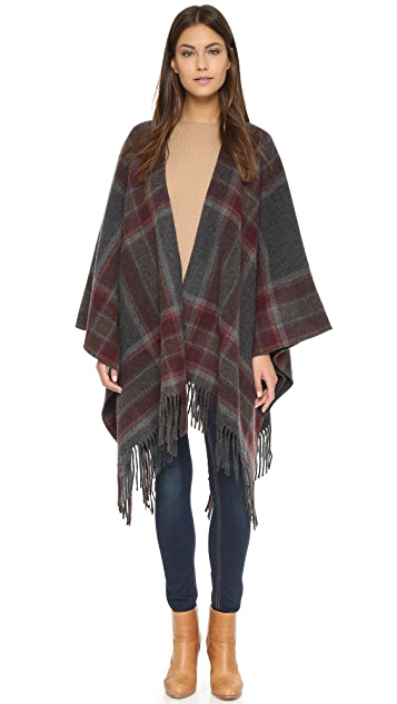 Theory Shabana Plaid Poncho