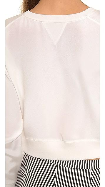 Theyskens' Theory Felect Bason Cropped Silk Sweatshirt