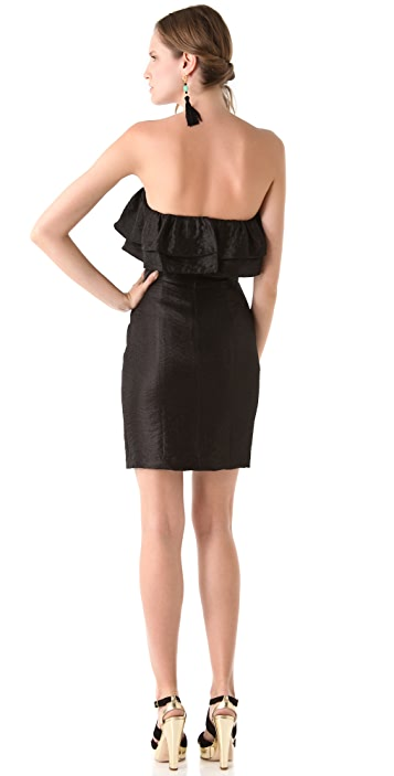 Thread Short Strapless Double Ruffle Dress