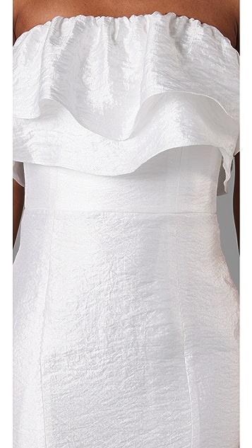 Thread Short Strapless Double Ruffle Dress