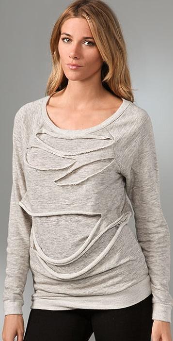 Three Dots Long Sleeve Sweatshirt with Cutouts