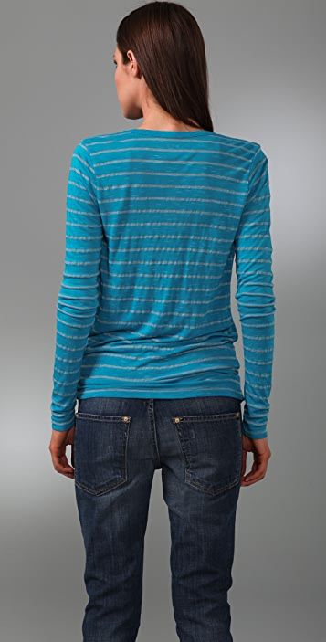 Three Dots Slub Stripe Wrap Cardigan