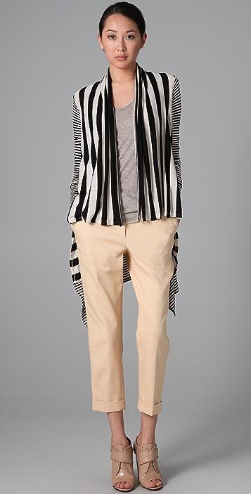 Three Dots Natural Stripe Long Sleeve Cardigan