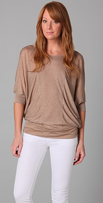 Three Dots Melange Half Sleeve Tunic