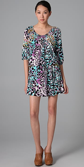 Three Dots Kaleidoscope Print Scoop Neck Dress