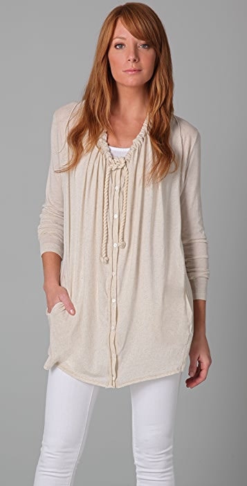 Three Dots Long Sleeve Draped Cardigan