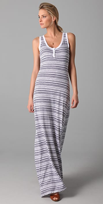 Three Dots Sleeveless Henley Maxi Dress