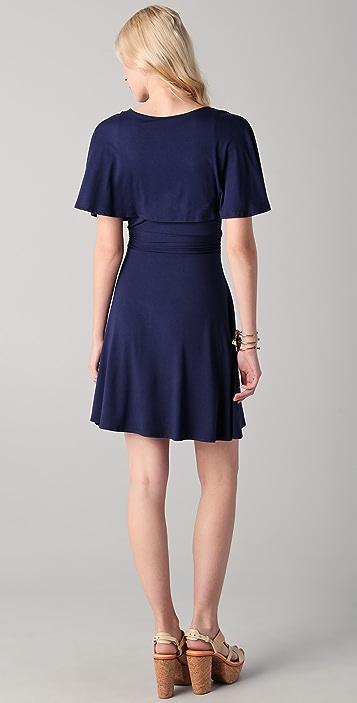 Three Dots Draped Sleeve V Neck Dress