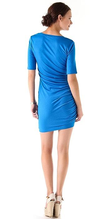 Three Dots Shirred V Neck Dress