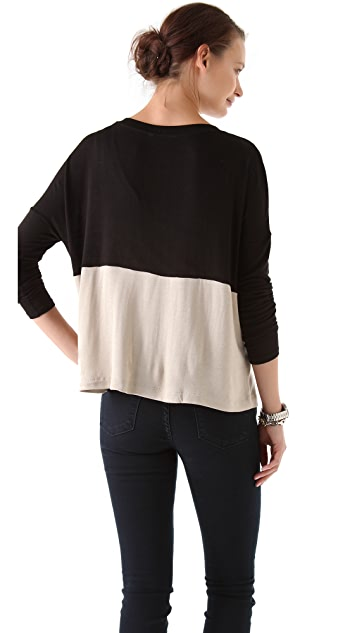 Three Dots Boxy Contrast Sweater