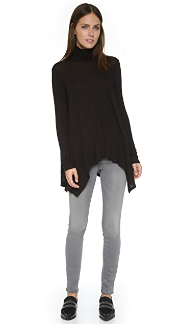 Three Dots Draped Turtleneck Tunic