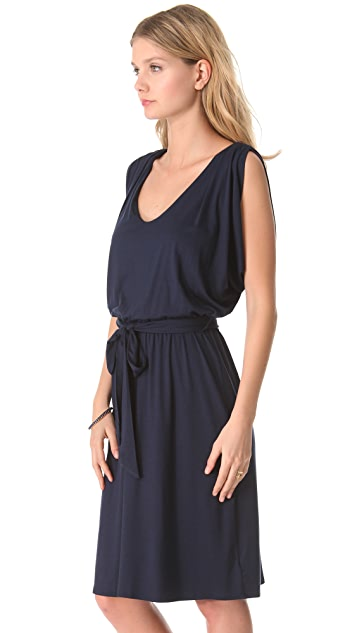 Three Dots Blouson Tie Dress