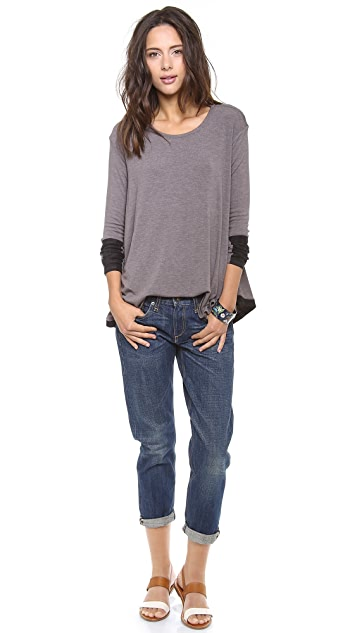Three Dots Faux Suede Trim Top