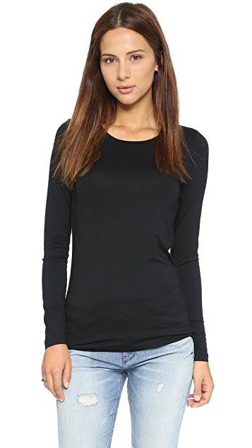 Three Dots Open Crew Neck Top