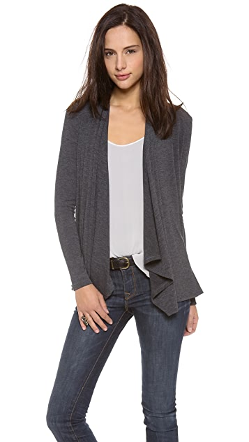 Three Dots Long Sleeve Button Cowl Cardigan
