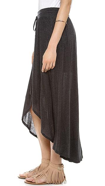 Three Dots Sheer Drawstring High Low Skirt