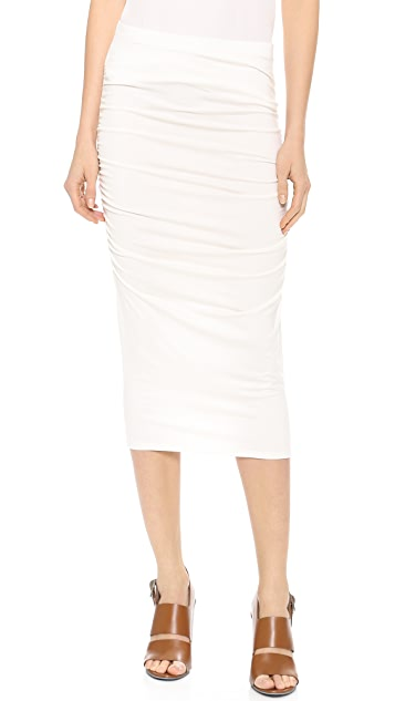Three Dots Ruched Midi Skirt