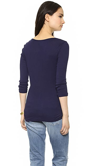Three Dots 2x1 Rib Boat Neck Tee