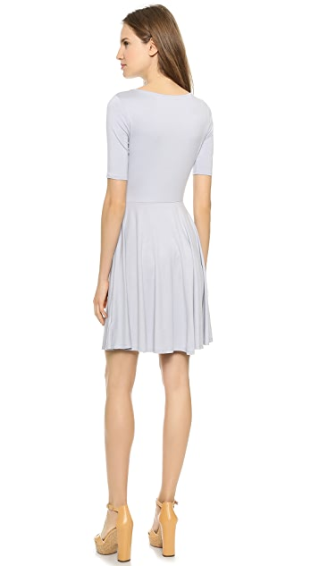 Three Dots Boat Neck Flare Mini Dress