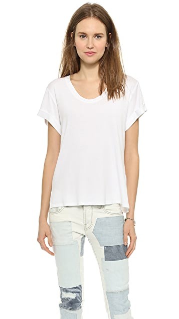 Three Dots Easy Tee with Rolled Sleeves