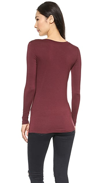 Three Dots Long Sleeve V Neck Top
