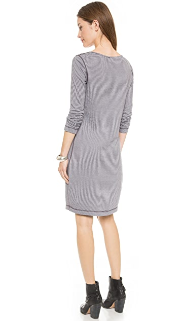 Three Dots Reversible Striped Henley Dress
