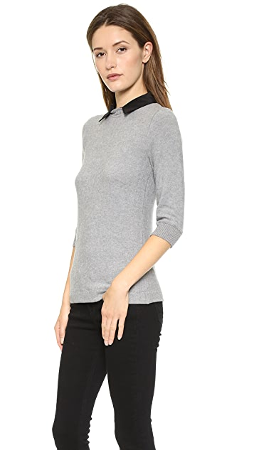 Three Dots Sweater with Silk Collar