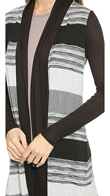 Three Dots Space Dye Striped Cardigan
