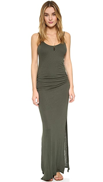 Three Dots Rosina Shirred Maxi Dress