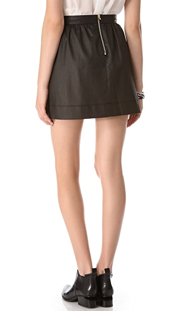 3x1 W2 Coated Ruched Miniskirt