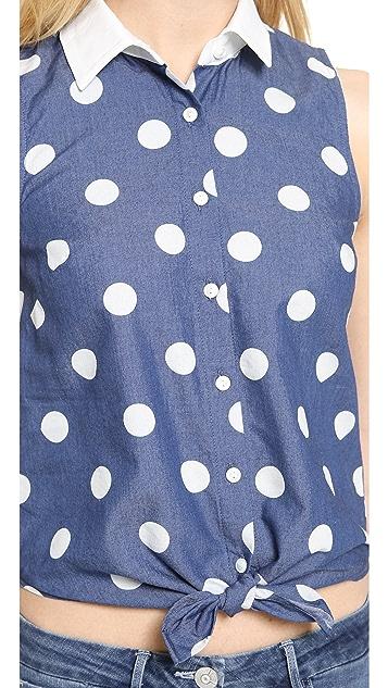 3x1 Natalie Tie Front Sleeveless Shirt