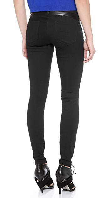 3x1 Leather Wrap Zip Skinny Jeans