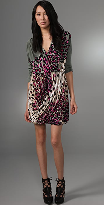 Tibi Zola Draped V Neck Dress