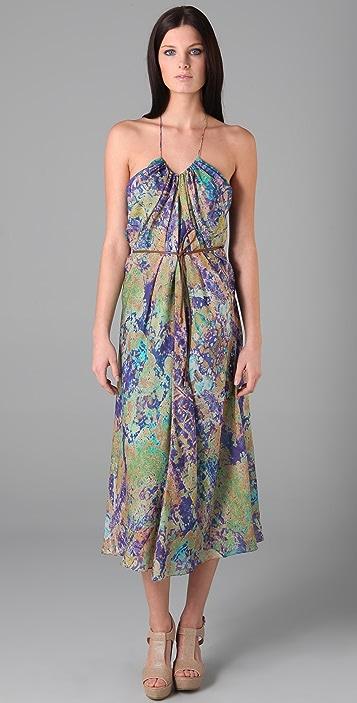 Tibi Print Long Halter Dress