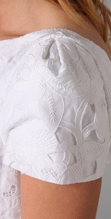 Tibi Eyelet Cap Sleeve Dress