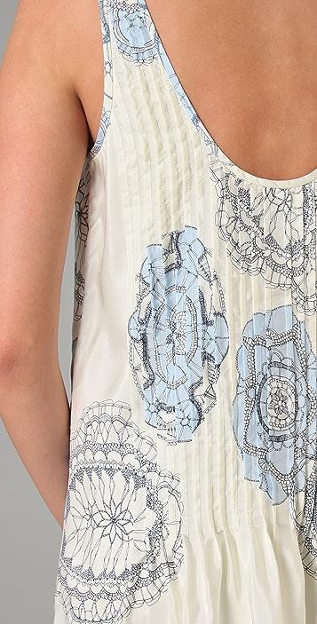 Tibi Teja Print Pintucked Dress