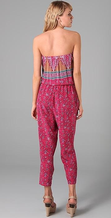 Tibi Paisley Strapless Jumpsuit